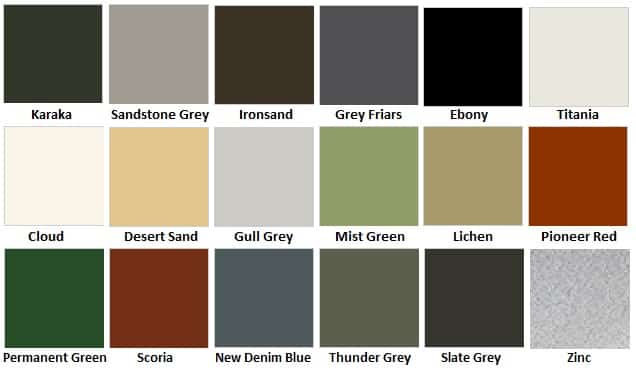 Pinehaven Colour Chart
