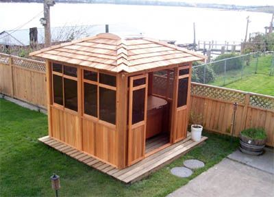 5 ideas for your pinehaven garden shelter sheds and shelters for Hot tub shelters